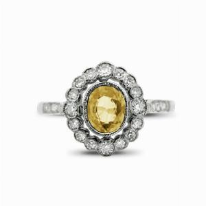 Vintage Yellow Sapphire & Diamond Cluster Ring